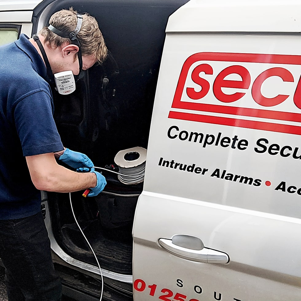 Securifix Home Burglar Alarm Installer Wearing PPE Protection