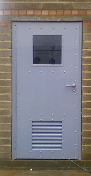 Steel security door with built in vision panel vent for Door vision panel